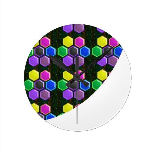 BRIGHT Hexagon Sparkle BUTTONS GoodLUCK lowprice Wall Clock