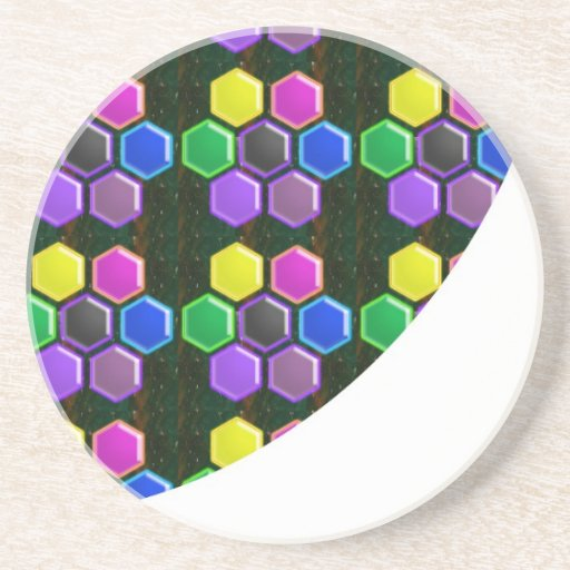BRIGHT Hexagon Sparkle BUTTONS GoodLUCK lowprice Drink Coaster