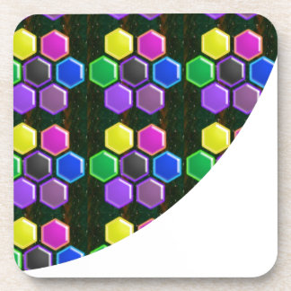 BRIGHT Hexagon Sparkle BUTTONS GoodLUCK lowprice Drink Coasters