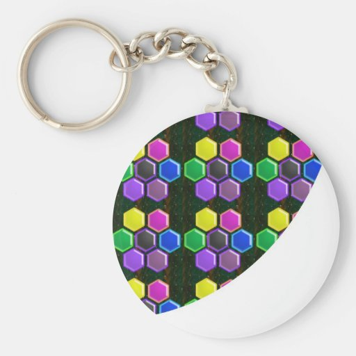 BRIGHT Hexagon Sparkle BUTTONS GoodLUCK lowprice Key Chains