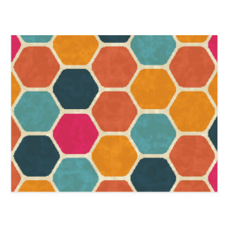 Bright Hexagonal Pattern Post Cards