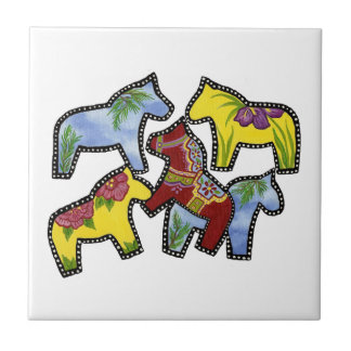 Bright Horses Small Square Tile