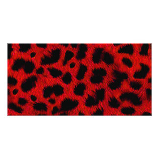 BRIGHT HOT FIRE RED   BLACK ANIMAL PRINT PATTERN D PHOTO CARD TEMPLATE