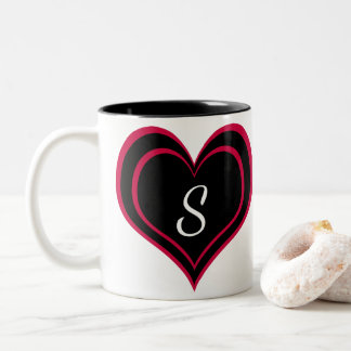 Bright Hot Pink and Black Heart with Monogram Two-Tone Coffee Mug