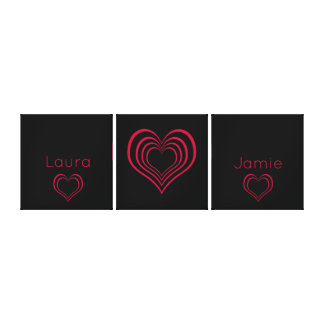 Bright Hot Pink and Black Heart with Names Canvas Print