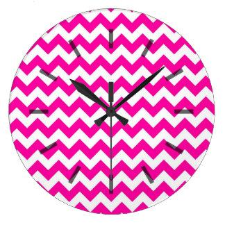 Bright Hot Pink Chevrons Clock