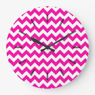 Bright Hot Pink Chevrons Large Clock