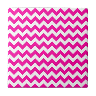 Bright Hot Pink Chevrons Small Square Tile