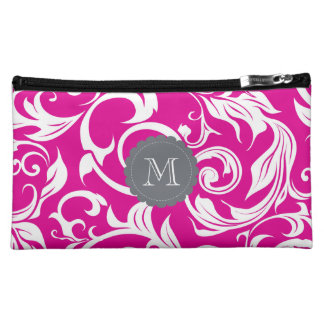 Bright Hot Pink Floral Scroll Gray Monogram Makeup Bag