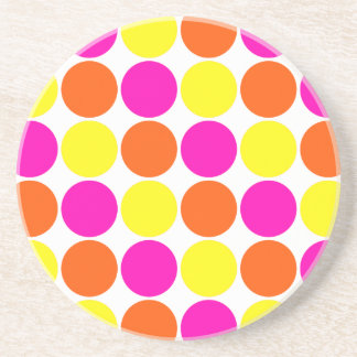 Bright Hot Pink Orange Yellow Polka Dots Pattern Drink Coasters