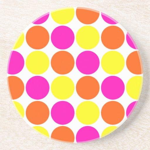 Bright Hot Pink Orange Yellow Polka Dots Pattern Drink Coasters