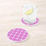 Bright Hot Pink Retro Chic Ikat Drops Pattern Coasters
