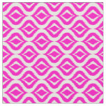 Bright Hot Pink Retro Chic Ikat Drops Pattern Fabric
