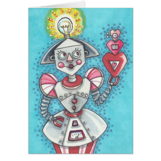 Bright Idea GIRL ROBOT NOTE CARD Blank