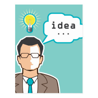 Bright Idea Man vector Illustration Postcard