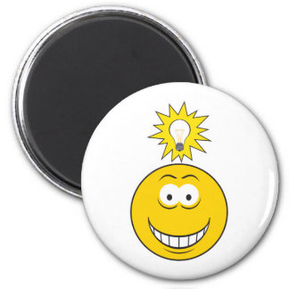 Bright Idea Smiley Face 6 Cm Round Magnet