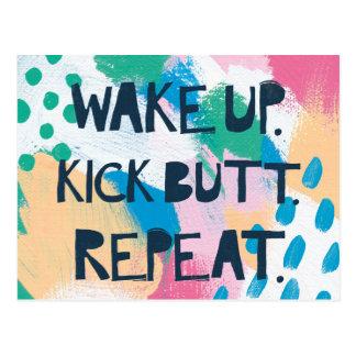 Bright Inspiration IV | Wake Up Kick Butt Repeat Postcard