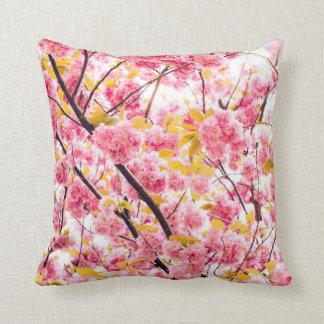 Bright Japanese Pink Cherry Blossoms Sakura Throw Pillow