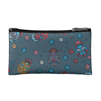 Bright jeans blue mexican floral skull pattern makeup bag