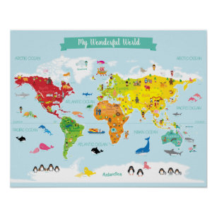 World map posters prints zazzle uk bright kids world map with illustrations poster gumiabroncs Gallery