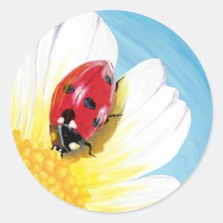 Bright ladybug classic round sticker