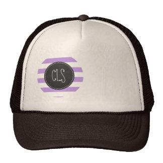 Bright Lavender Stripes; Retro Chalkboard Cap