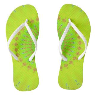 Bright Lemon Lime Neon Pop Mandala Flip Flops