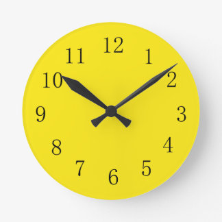 Bright Lemon Yellow Kitchen Wall Clock