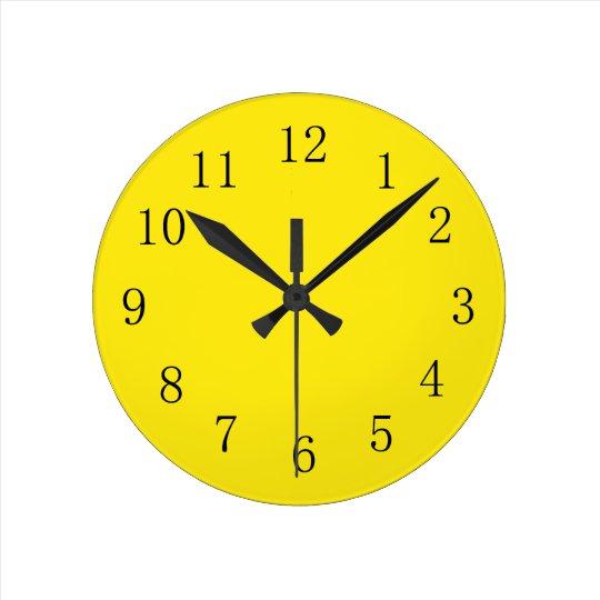 Bright Lemon Yellow Kitchen Wall Clock