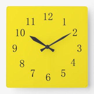 Bright Lemon Yellow Square Wall Clock