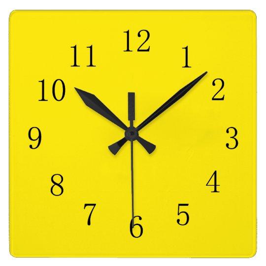 Bright Lemon Yellow Square Wall Clock Zazzle Co Uk