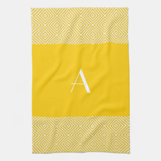Bright Lemon Yellow with White Monogram Tea Towel