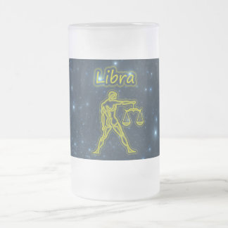 Bright Libra Frosted Glass Beer Mug