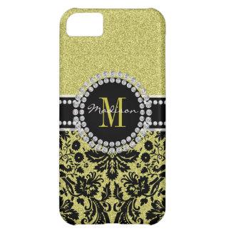 Bright light gold glitter Damask, Name & Monogram iPhone 5C Case