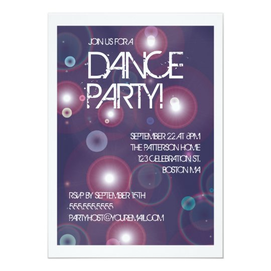 Bright Lights Dance Party Invitation