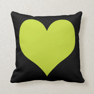 Bright Lime Green and Black Hearts Throw Pillow