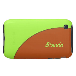 Bright Lime Green and Brown Mod Tough iPhone 3 Case