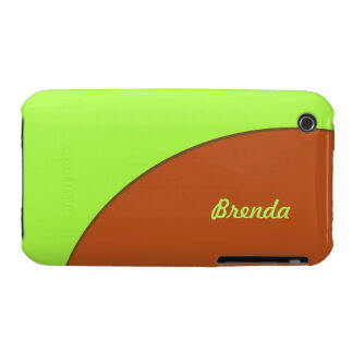 Bright Lime Green and Brown Mod iPhone 3 Cover