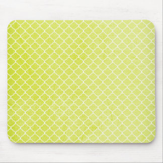 Bright Lime Green, Grunge, Moroccan Quatrefoil Mouse Pads
