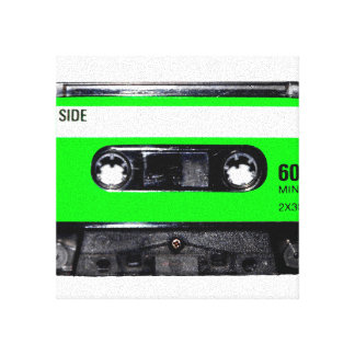 Bright Lime Green Label Cassette Canvas Print