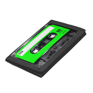 Bright Lime Green Label Cassette Trifold Wallets