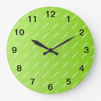 Bright Lime Green Patterned Background Design. Large Clock