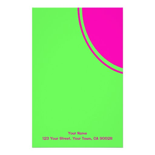 Bright lime green pink mod circle custom stationery