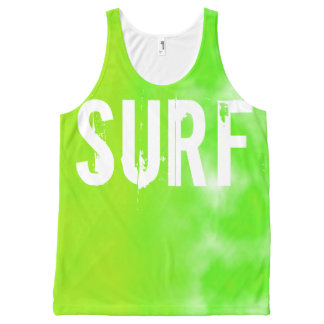 Bright Lime Green Surf Slogan Customizable All-Over Print Tank Top