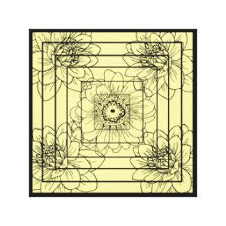 Bright Locked Striped Florah Design Canvas Print
