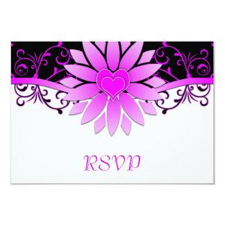 Bright Magenta and Black Wedding RSVP 9 Cm X 13 Cm Invitation Card