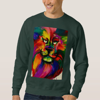 Bright male lion tattoo ink painting jumper sweatshirt