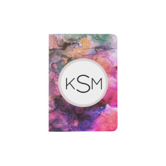 Bright Marble Paint Rainbow Monogram Passport Holder
