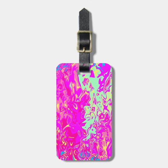 Bright Marbleised Colours Design on Luggage Tag