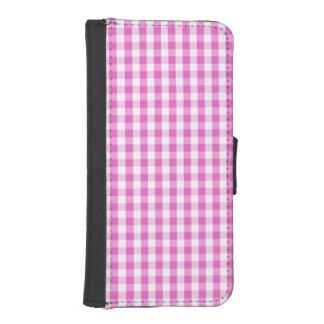 Bright Mauve Purple & White Gingham Pattern iPhone 5 Wallet Case